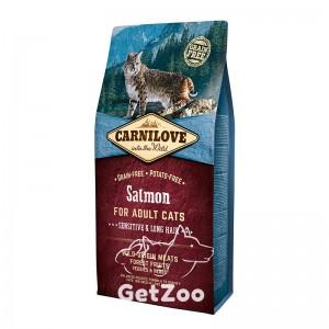 Carnilove Сухой беззерновой корм с лососем для длинношерстных кошек и кошек с чувствительным пищеварением