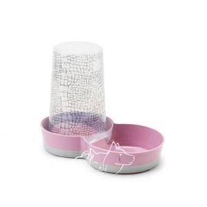 Moderna Tasty WildLife 2в1 Автокормушка-автопоилка для кошек и собак, розовая, дизайн Дикий Мир, 1,5 л