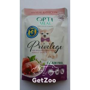 Optimeal Grain Free Оптимил Беззерновой влажный корм с Телятиной и Куриным филе в соусе для собак малых пород, 85 г