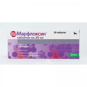 KRKA Марфлоксин для лечения собак и кошек при заболеваниях бактериальной и микоплазменной этиологии, 10 табл.