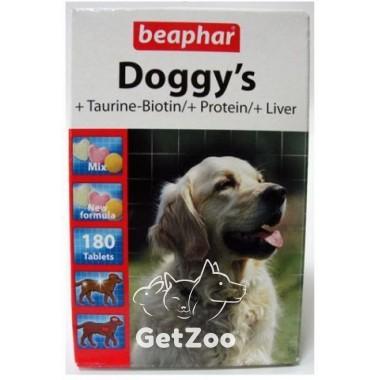 Beaphar Doggy's Mix Витаминизированное лакомство (с таурином и биотином, с протеином и печенью) для собак, 180 табл.