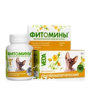 Veda (Веда)  Фитомины Противоаллергические для кошек, 100 шт