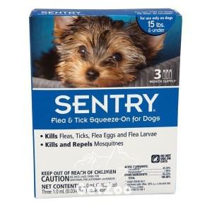 Sentry Капли от блох, клещей и комаров для собак весом до 7 кг