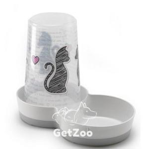 Moderna Tasty Cats in Love 2в1 Автокормушка-автопоилка для кошек и собак, белый, дизайн Влюбленные Коты, 1,5 л