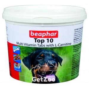 Beaphar (Беафар) Топ 10 Комплекс витамнов и минералов с L-карнитином и совкусом креветок для собак, 750 табл.