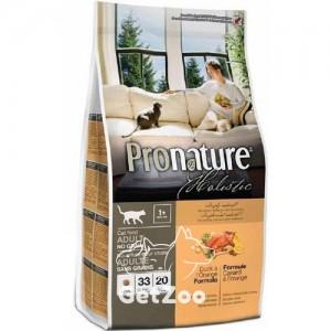 Pronature Holistic Сухой корм с уткой и апельсинами без злаков для кошек