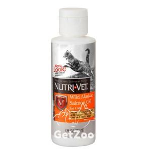Nutri-Vet Salmon Oil МАСЛО ДИКОГО ЛОСОСЯ витаминная добавка для шерсти кошек, жидкая, 118 мл