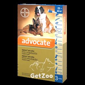 ADVOCATE комплексные капли для собак от 25 до 40 кг от блох, клещей и глистов, 1 пипетка