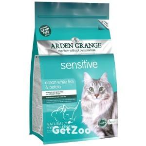 Arden Grange Adult Cat Sensitive Ocean fish and potato Беззерновой корм с рыбой и картофелем для кошек с чувствительным пищеварением