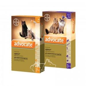 Bayer (Байер) Advocate Адвокат капли от эндопаразитов, клещей для кошек от 4 до 8 кг, 1 пипетка