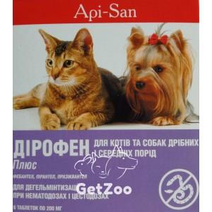 Дирофен Плюс таблетки против глистов для собак и кошек (фебантел, пирантел, празиквантел), 6 табл.