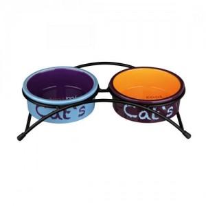 Миски керамические на подставке Trixie «Eat on Feet» 2 x 300 мл,12 см (разноцветные)