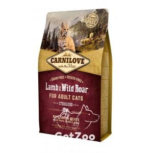 Carnilove Sterilised Сухой беззерновой корм с ягненком и диким кабаном для кастрированных и стерилизованных кошек