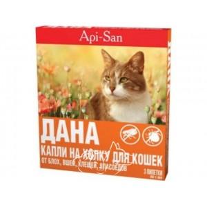 Api-San (Апи-Сан) Дана Спот-Он капли на холку для взрослых кошек от 3 кг, 1 пипетка