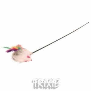 Мышка с перьями на палочке Trixie 45161