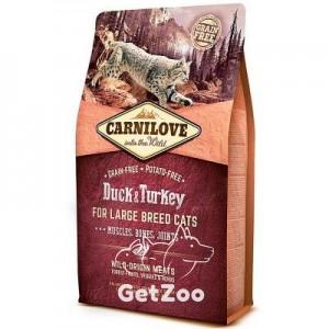 Carnilove Сухой беззерновой корм с уткой и индейкой для кошек крупных пород